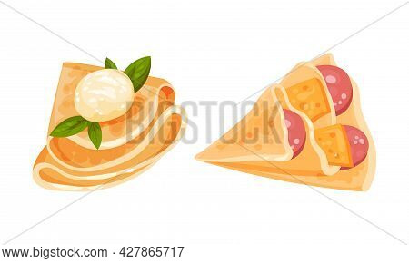 Savory Crepe Or Pancake Served With Cheese And Wurst Filling Vector Set