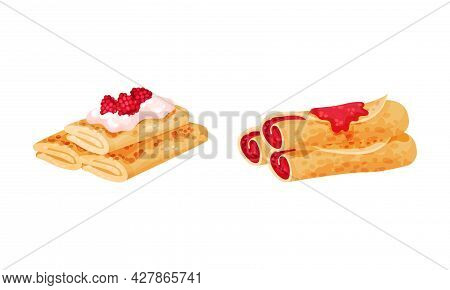 Sweet Crepe Or Pancake Served With Berry Filling Vector Set