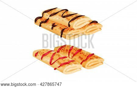 Sweet Crepe Or Pancake Served With Berry And Chocolate Filling Vector Set