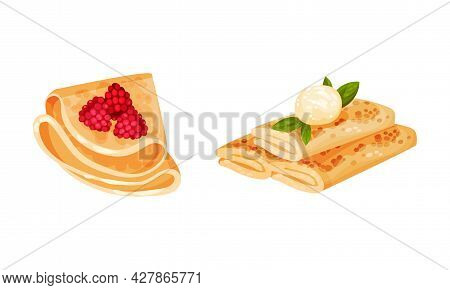Sweet Crepe Or Pancake Served With Cheese And Raspberry Filling Vector Set