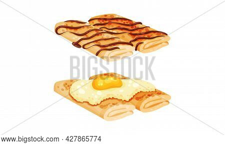 Sweet And Savory Crepe Or Pancake Served With Chocolate And Scrambled Egg Vector Set