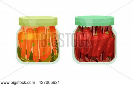 Closed With Lid Glass Jar With Preserved Carrot And Chilli Pepper Vector Set
