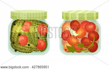 Closed With Lid Glass Jar With Preserved Tomato And Cucumber Vector Set