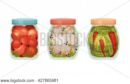 Closed With Lid Glass Jar With Preserved Cucumber And Tomato Vector Set