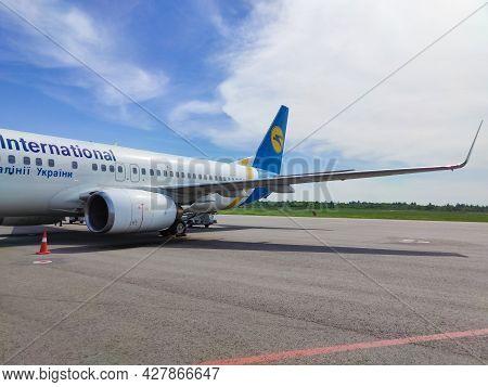 Zaporizhzhia, Ukraine - May 11, 2021: Ukraine International Airlines Boeing 737
