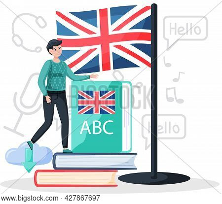 Language Classes Online With Education Platform, English Lessons. Foreign Speech Study At Home Using