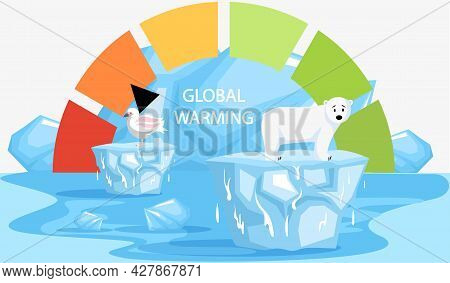 Scale With Indicator Of Global Warming On Planet Earth. Earth Temperature Rise And Glacier Melting.