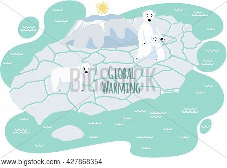 Wild Animals Living In Arctica Suffer From Global Warming. Family Of Polar Bears On Ice Floe During