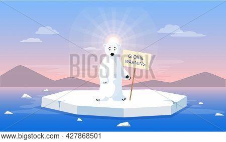 Sad Polar Bear Escapes Melting Glacier. Animals During Global Warming Concept. Cute Polar Bear Stand