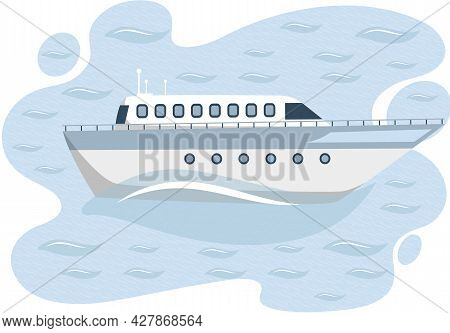 White Luxury Yacht, Vessel With Cabin As Water Transport. Ship Is In Roads In Harbor, Commercial Boa