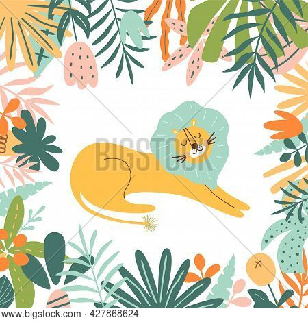 Lion In Jungle. Wild Animal Illustration With Jungle Plants. Bright Zoo Postcard. Sweet Jungle Lion