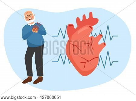 Senior Male With Heart Attack, Heart Disease Symptom Concept. Human Circulatory System. Cardiology P