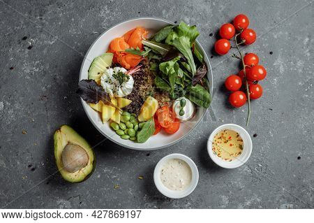 Fresh Healthy Light Breakfast, Business Lunch. Breakfast With Poached Egg, Buckwheat, Red Fish, Fres