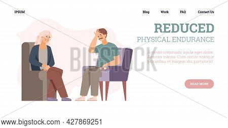 Vector Web Banner With Tired Couple Seniors With Feeling Weak And Fatigue.