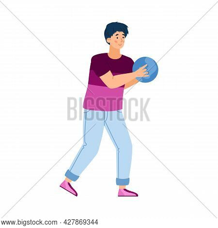 Vector Flat Illustration Of Guy Bowling Player With Blue Bowling Ball In His Right Hand. Cartoon Cha