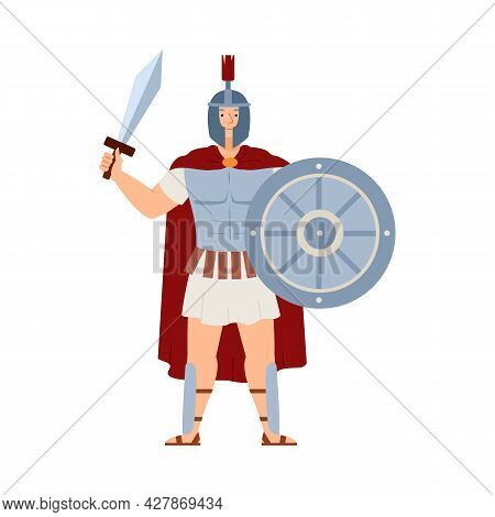 Ares Greek Deity Of War, Male Character In Armor With Sword And Shield In Hands.