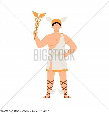 Hermes Mercury Greek God With Wand And In Winged Sandals A Vector Illustration