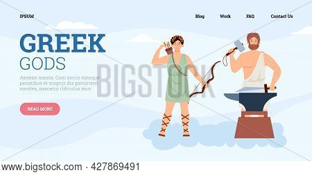 Vector Webpage With Greek Ancient Mythology God Hephaestus And Goddess Artemis