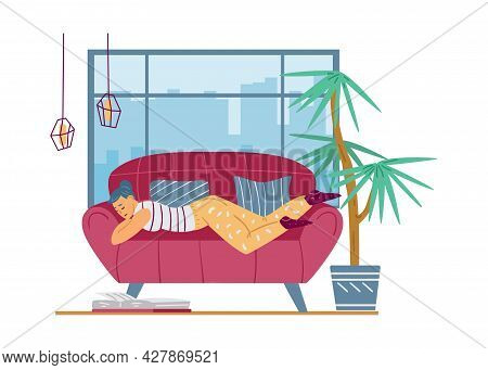 Lazy Young Woman Relax Lying On Couch And Feeling Depression, Laziness Or Apathy