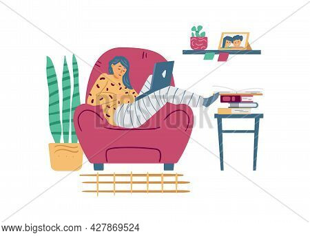 Tired Lazy Girl With Laptop Computer Sleep In Armchair A Vector Illustration.