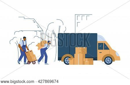 Loaders Or Porters Unloading Furniture, Flat Vector Illustration Isolated.