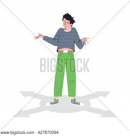 Choice Way, Man Stands At Crossroads Arrows, Makes Decision In Flat Style