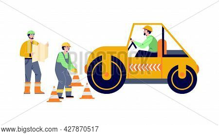 Road Construction Workers Level Asphalt Pavement, Vector Illustration Isolated