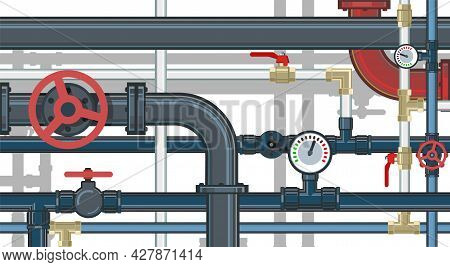 Pipeline. Water Fittings. Various Purposes. Pressure Gauge For Measurement.. Supply Pipeline Cock. I