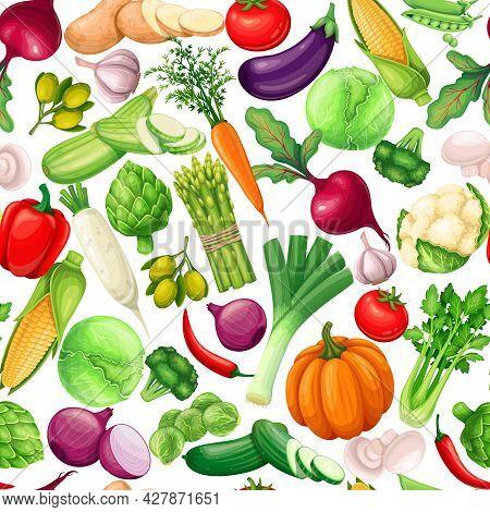 Vegetables Seamless Pattern, Vector Illustration. Background With Artichoke, Leek, Corn, Garlic, Cuc