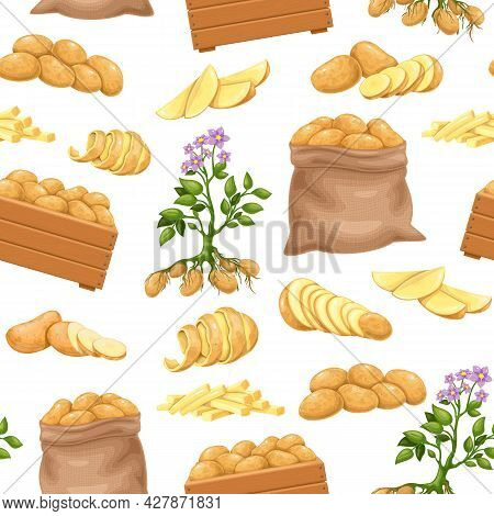 Potato Products Seamless Pattern, Vector Illustration. Background With Whole Root Potatoes In Burlap