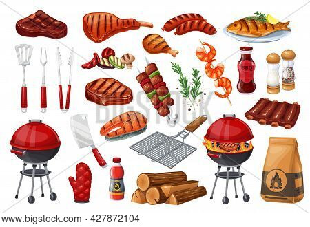 Bbq Party Set Icon, Barbecue, Grill Or Picnic. Grilled Salmon, Sausage, Vegetables, Meat Steak And S