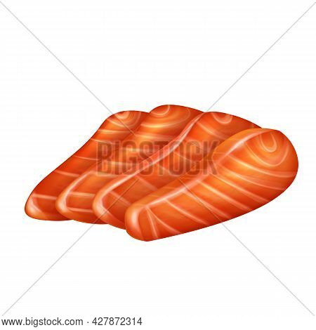 Slices Salmon Fillet Vector Realistic Isolated Illustration. Pieces Raw Red Fish Or Trout.