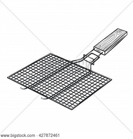 Bbq Grill Grid Barbecue Outline Vector Icon, Drawing Monochrome Illustration. Manual Grill Grate Wit