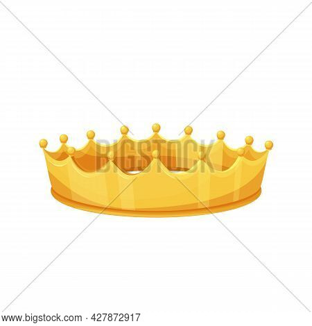 Golden Crown. Royal Golden Jewelry, Success, Wealth. Isolated Vector Icon Of Golden Triumph First Pl