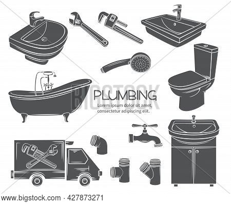 Plumbing Monochrome Icons. Glyph Shower, Bathroom Sink, Toilet, Sanitary Wrench And Tap For House Pl