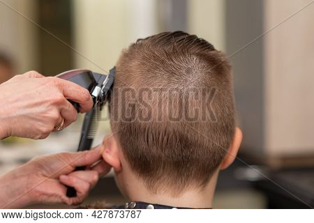 Cute Kid Boy Have Hair Cut, Professional Barber Doing Haircut. Hairdress For Children. Kid Side View