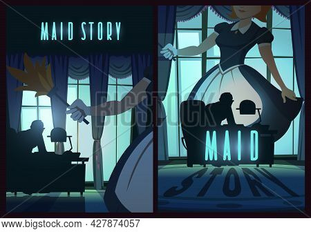 Maid Story Poster With Woman In Apron And Man Silhouette At Desk In Night Office. Vector Banner Of M