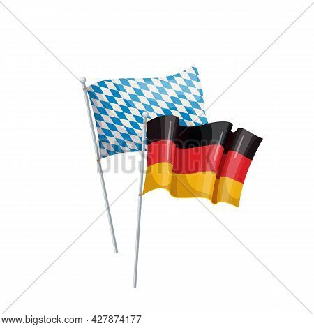 Germany And Bavaria Flags. Beer Festival. Oktoberfest. Oktoberfest Buntings Of Flags. Isolated Vecto