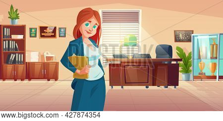 Woman Principal In School Office Interior With Desk, Chair, Bookcase And Showcase With Sport Trophie