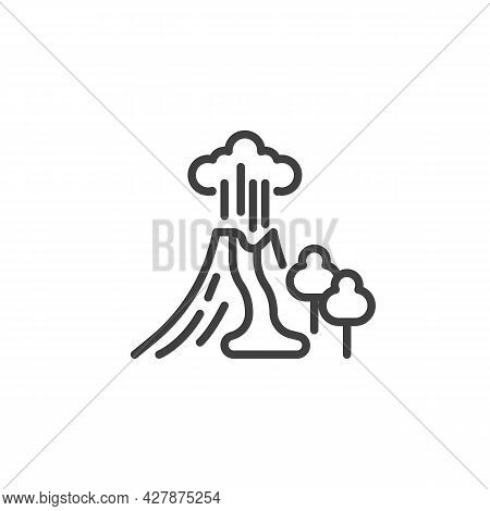 Volcano Eruption Line Icon. Linear Style Sign For Mobile Concept And Web Design. Erupting Volcano Mo