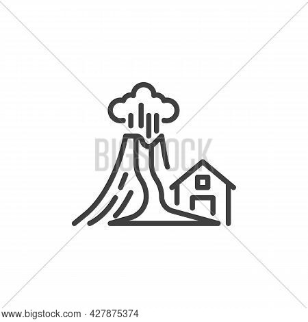 Volcano Eruption Disaster Line Icon. Linear Style Sign For Mobile Concept And Web Design. Volcano An