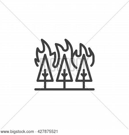 Wildfire Disaster Line Icon. Forest Fire Linear Style Sign For Mobile Concept And Web Design. Burnin