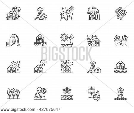 Natural Disaster Line Icons Set. Linear Style Symbols Collection, Outline Signs Pack. Catastrophe, C