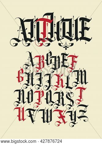 Antique Font. Set Of Capital Letters Of English Alphabet In Vintage Style. Medieval Uppercase Latin