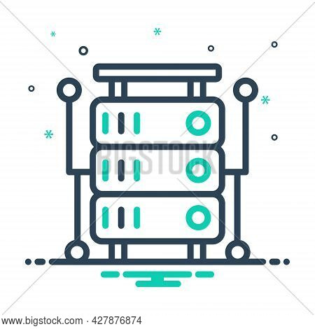 Mix Icon For Database Storage Database-interconnected Database Interconnected Application Document M