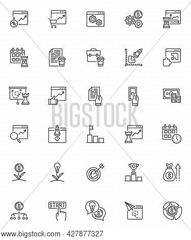 Startup Project Line Icons Set. Linear Style Symbols Collection, Outline Signs Pack. Business Strate