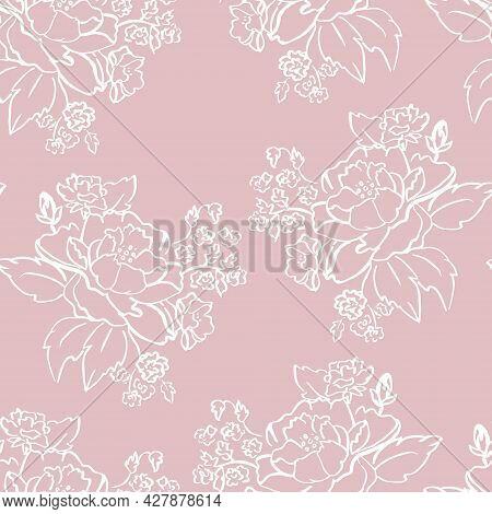 Vector White Ink Brushed Roses On Old Rose Pink Seamless Pattern Background. Perfect For Fabric, Wal