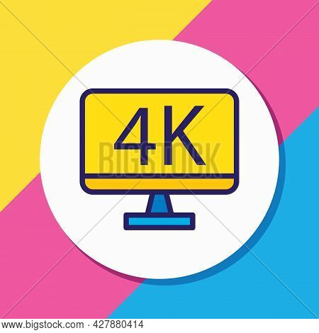 Vector Illustration Of 4k Resolution Icon Colored Line. Beautiful Movie Element Also Can Be Used As