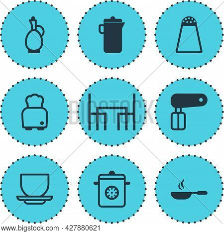 Vector Illustration Of 9 Kitchenware Icons. Editable Set Of Hand Mixer, Decanter, Skillet Icon Eleme