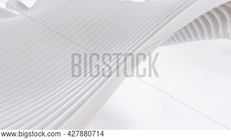 Abstract Curved Shapes. White Circular Background.